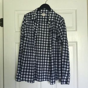 J Crew navy gingham button up